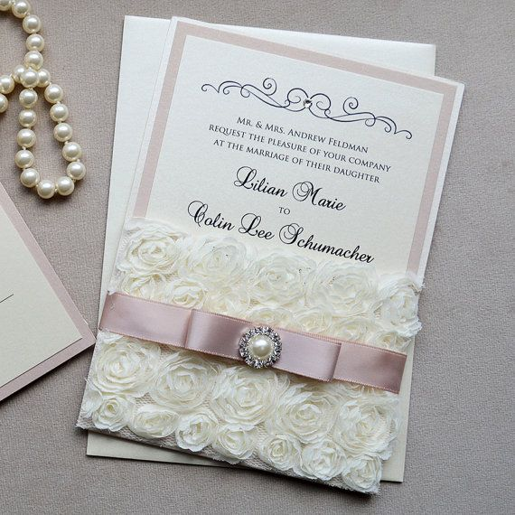 LILIAN - Rosette Lace Wedding Invitation - Blush & Ivory Rosette Pocket with Antique Pink Ribbon, Pearl Button and Swarovski Crystals