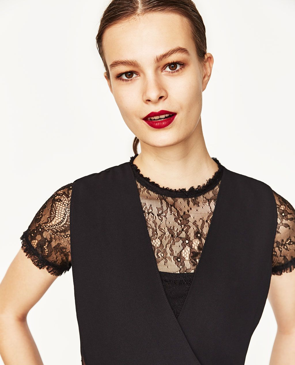 44b085bd Image 2 of CONTRAST LACE JUMPSUIT from Zara | FASHION | Lace ...