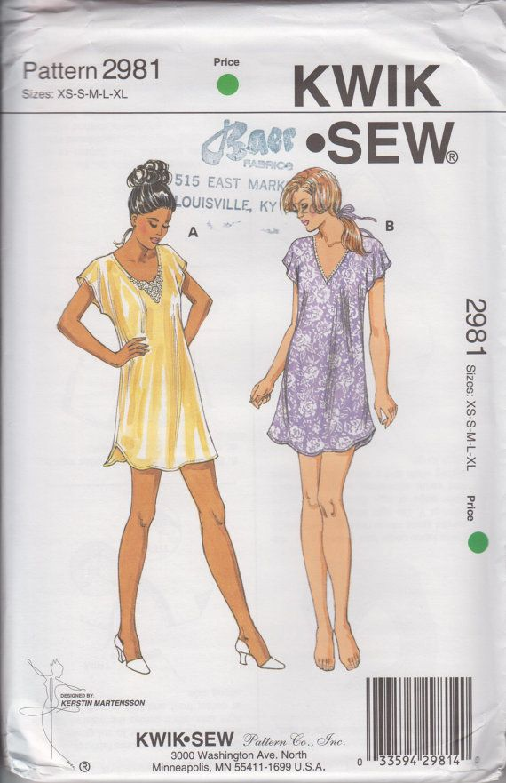 Kwik Sew 2981 Misses gowns Womens Sewing Pattern Size XS-XL UNOPENED ...