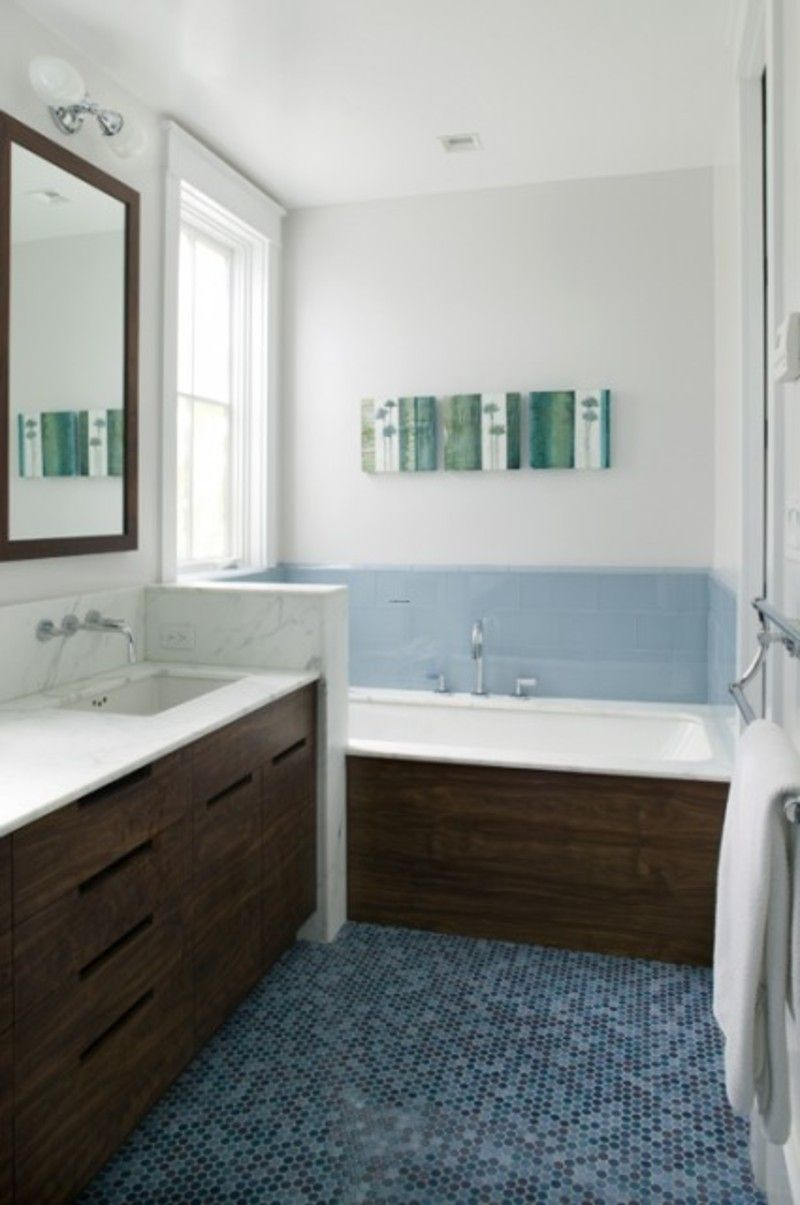 Chocolate vanity with blue tile bathroom white and blue bathroom