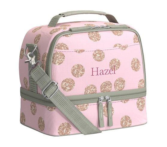 Mackenzie Pink Glitter Dot Lunch Bag Bags Lunch Bag