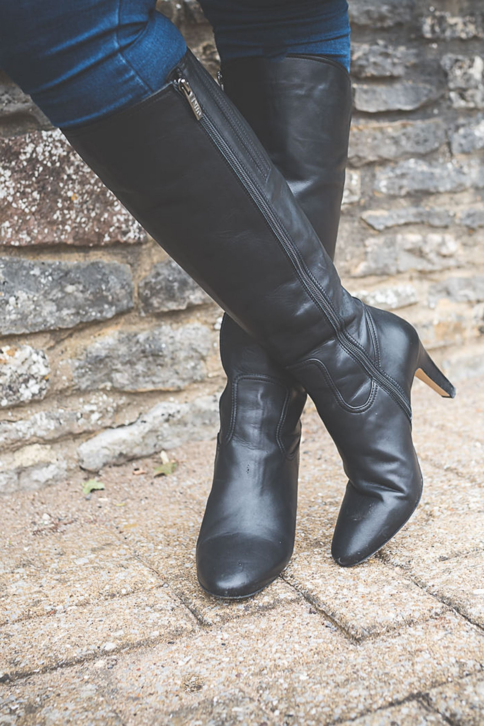 Luxor Black Leather Knee High Boots