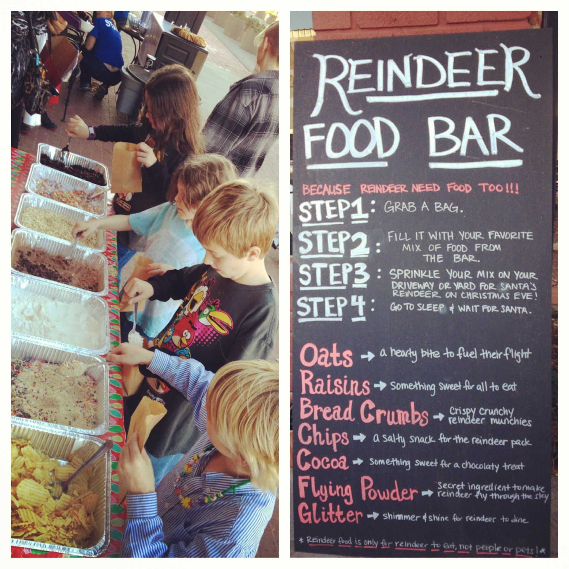 Reindeer Food Bar All Rights Reserved By Square One Sidewalk Cafe Squareonecafe Christmas Fair IdeasKids