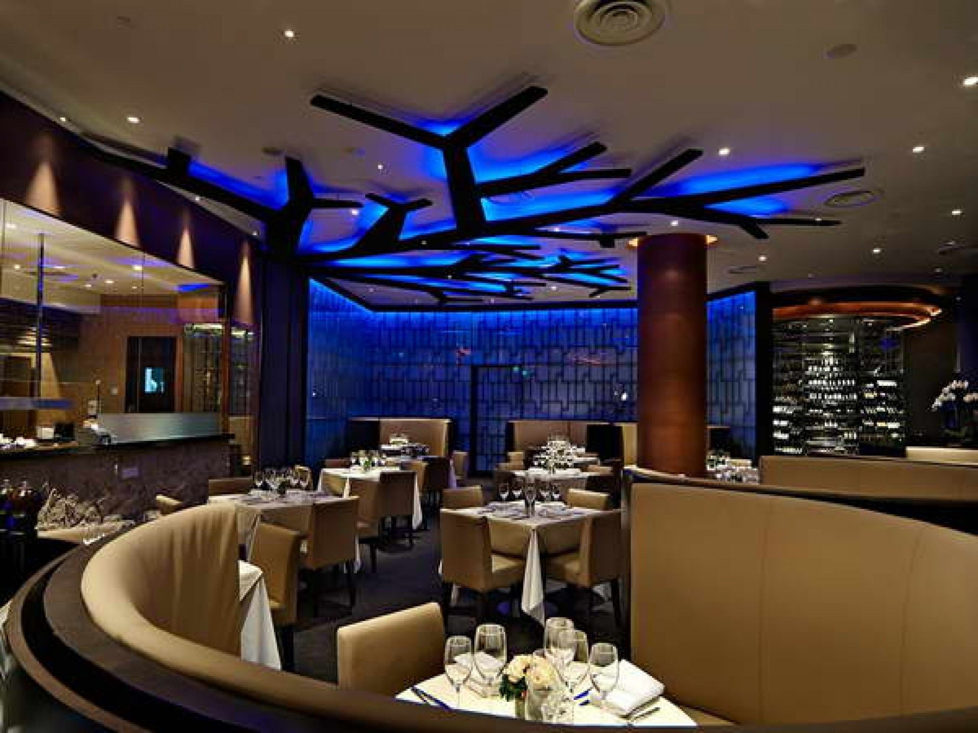 fair restaurant design concept ideas with cream brown - Blue Restaurant Ideas
