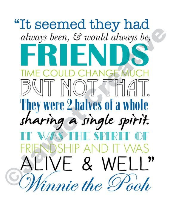 WINNIE The POOH PRINTABLE Friendship Quote Artwork Blues Magnificent Winnie The Pooh Quote About Friendship
