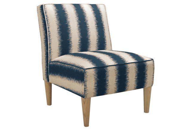 Best Finnegan Armless Chair Blue Cream Armless Chair Accent 400 x 300