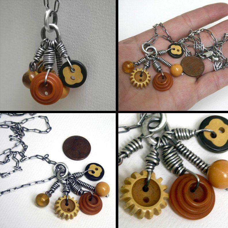 Bakelite Buttons Sterling Charm Necklace Long Chain Vintage . Gramma's Sewing Box III. $155.00, via Etsy.