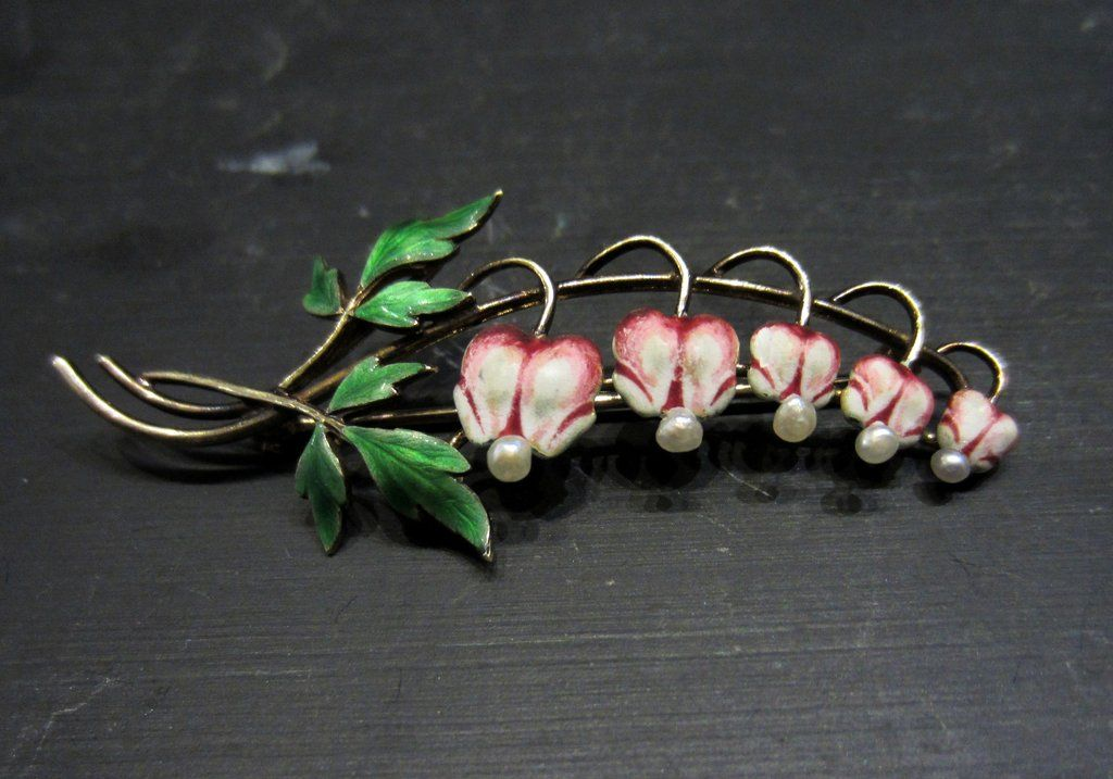 Art Nouveau Enamel and Pearl Bleeding Heart Brooch 14k, Krementz c. 1910