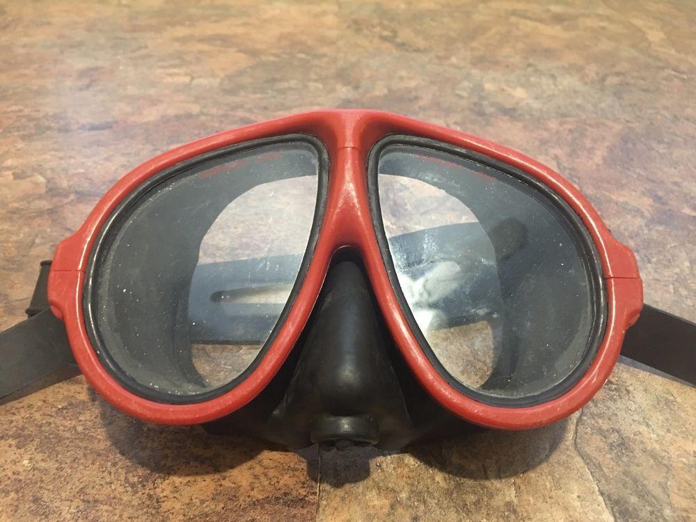Vintage Dacor Scuba Goggles Tempered Glass Dive Mask Snorkel Red Dacor Scuba Dive Mask Snorkeling