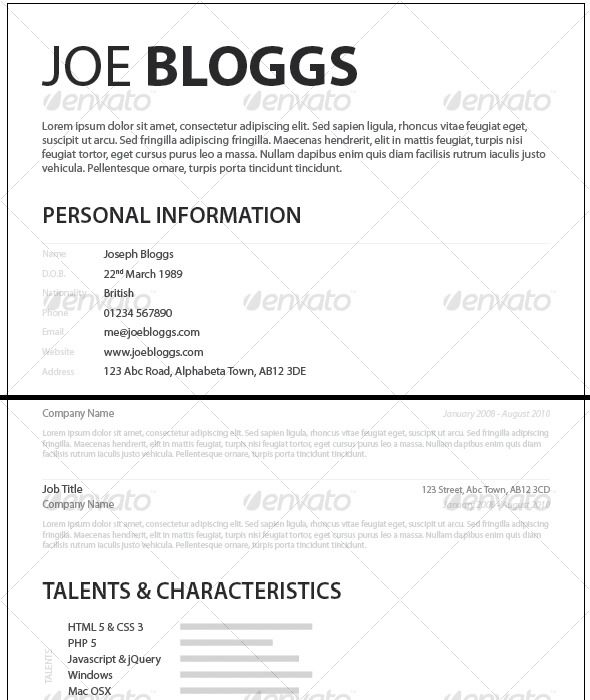 Monochromatic Simple Clean Elegant Resume / Cv | Resume Cv, Font