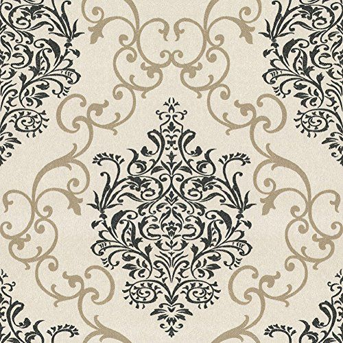 Tgsik Grey And Black Graphic Damask Wallpaper Self Adhesive For Living Room Bedroom Tv Background