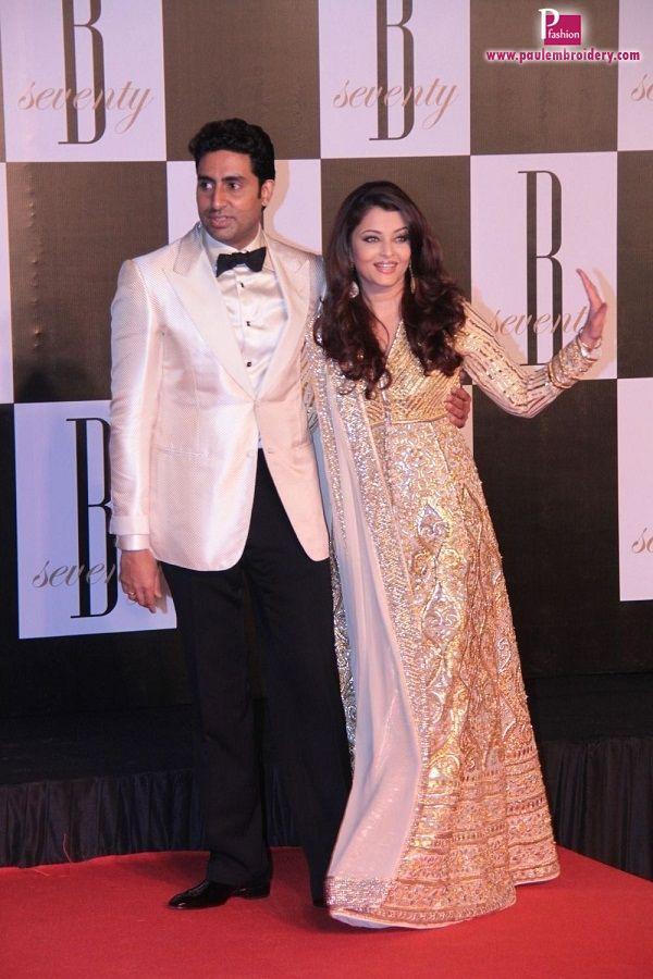 Aishwarya rai in designers anarkali suits paul for Aishwarya rai in her wedding dress