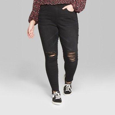 "9906199bb17 Women s Plus Size High-Rise Destructed Skinny Jeans - Wild Fableâ"" 20Black  Wash 20W  Rise"
