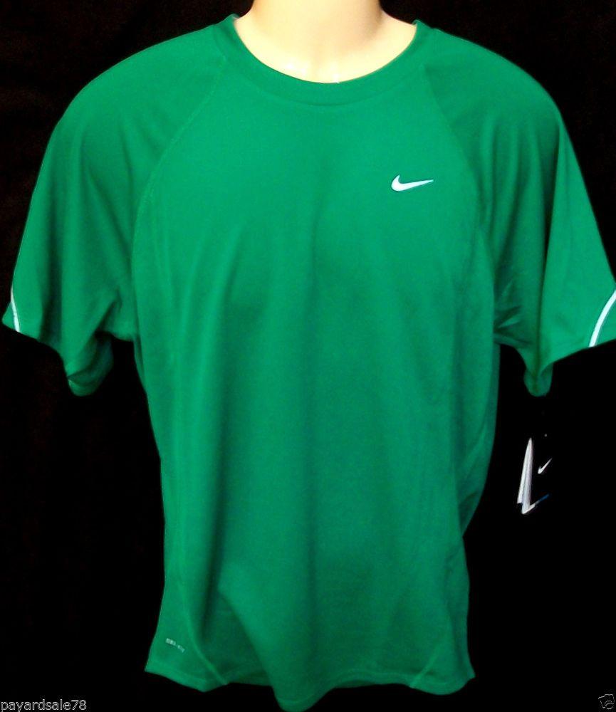 MEN'S LARGE NIKE MILER T-SHIRT RUNNING UPF 40+ DRI-FIT SUN PROTECTION GREEN #Nike #GraphicTee