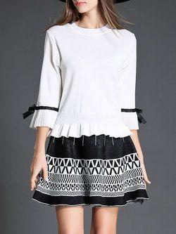 de27ec5eb62 White Two Piece Ruffle Bell Sleeve Pleated A-line Midi Dress ...