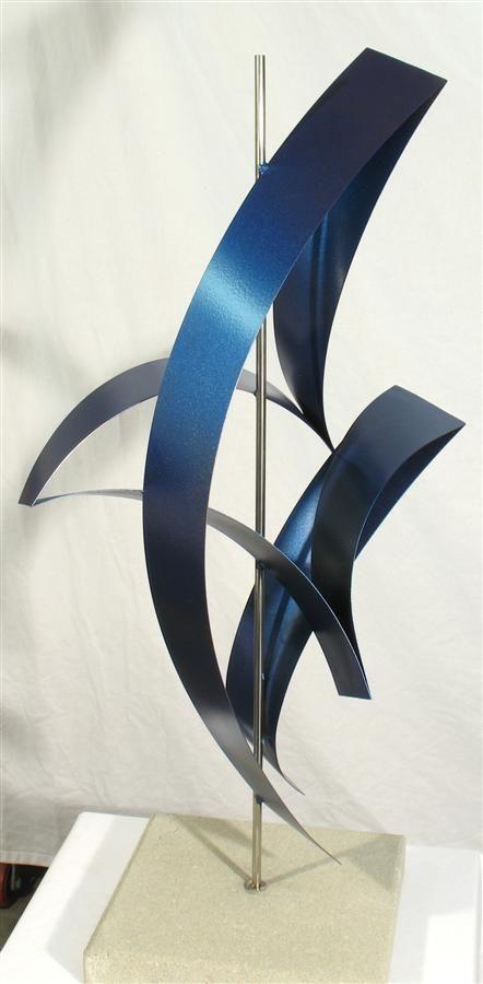 Abstract Metal Sculpture Metallic Blue Free Standing