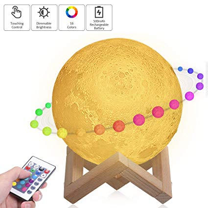 Tomshine Moon Lamp With Stand 16 Colors Moon Light Led 3d Print Nursery Lamp Usb Charging Touch Remote C Night Light Kids Nursery Lamp Christmas Gifts For Kids