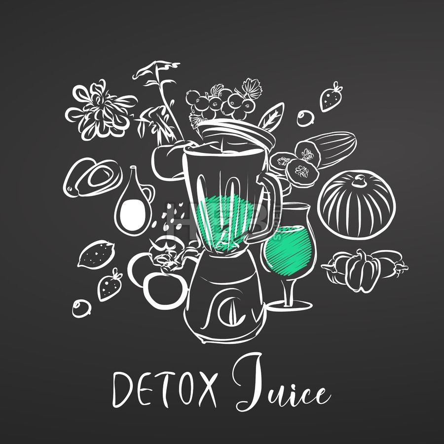 Detox Juice Vegetables And Mixer Chalk On Blackboard Hebstreits Maps And Sketches Detox Day Juicing With A Blender Detox Juice
