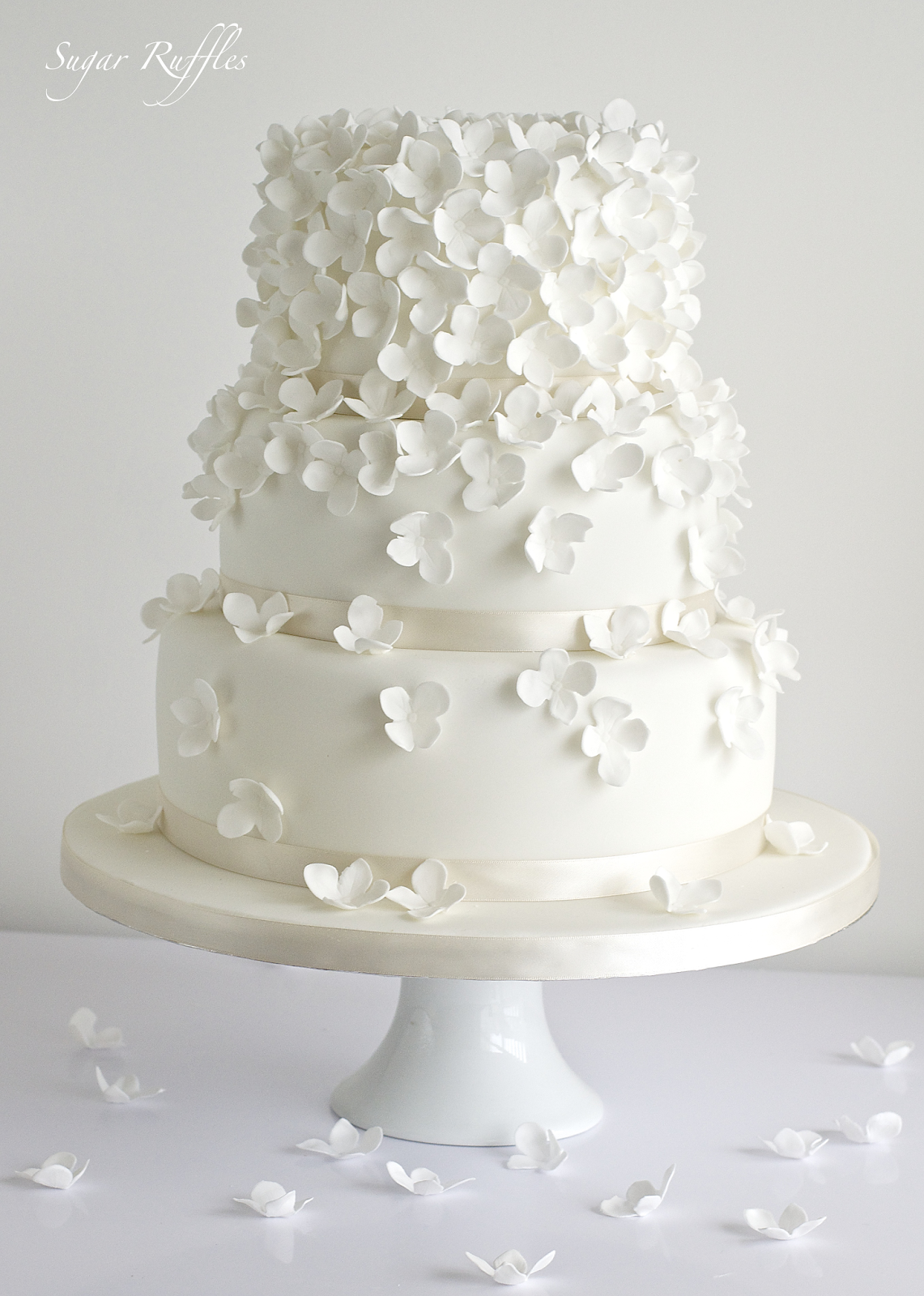 elegant wedding cakes with flowers sugar ruffles wedding cakes barrow in furness 13987