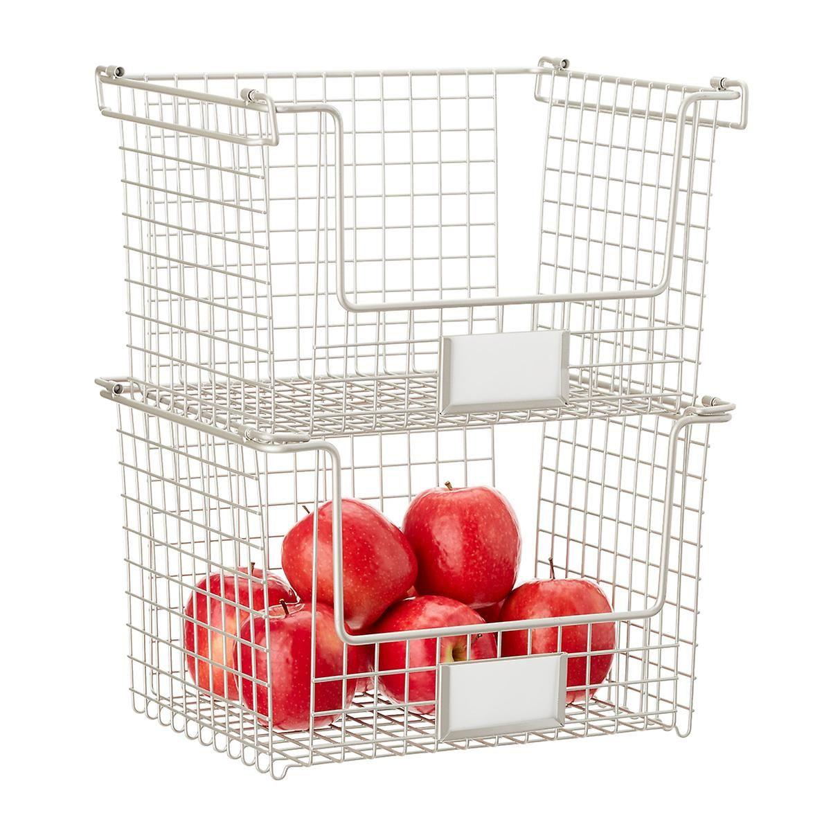 Idesign Nickel Stackable Basket Stackable Baskets Pantry Organizers Basket