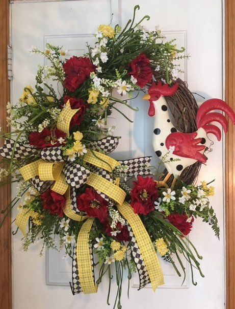 Photo of Rooster grapevine wreath, large grapevine wreath on the front door, red poppy grapevine wreath, floral grapevine wreath for the front door