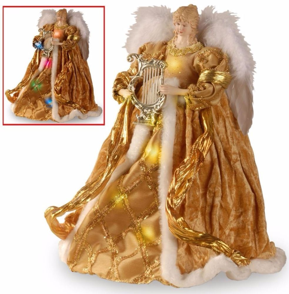 Handcrafted Gold Angel Tree Topper with Sparkle Dual LED ...