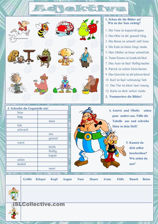 Arbeitsblatt Adjektive Grundschule : Adjektive deutsch und personenbeschreibung