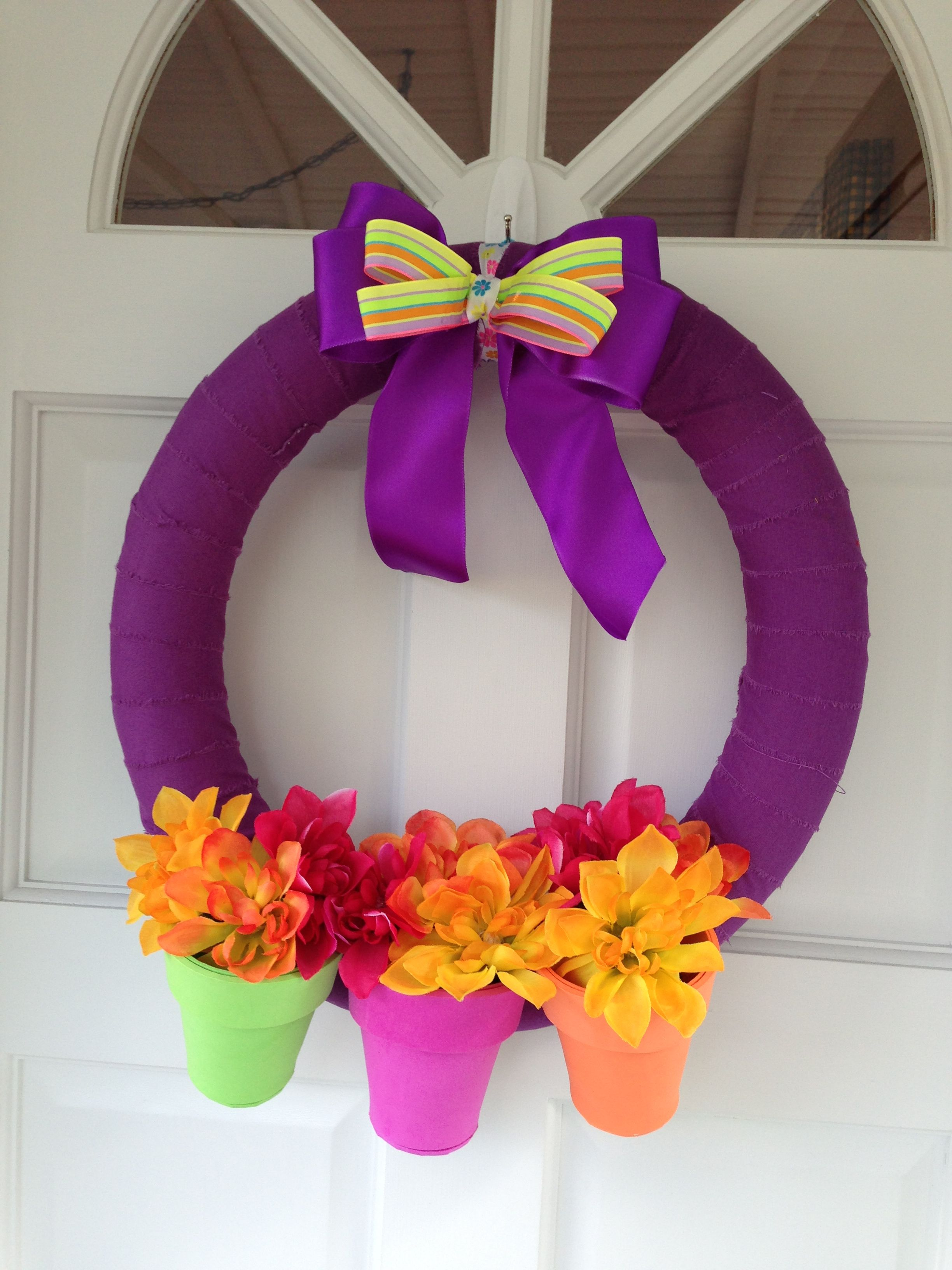 Flower Pot Pool Noodle Wreath I Made For Mothers