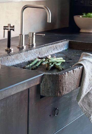 stone sink...wow | Rustic kitchen sinks, Stone kitchen ...