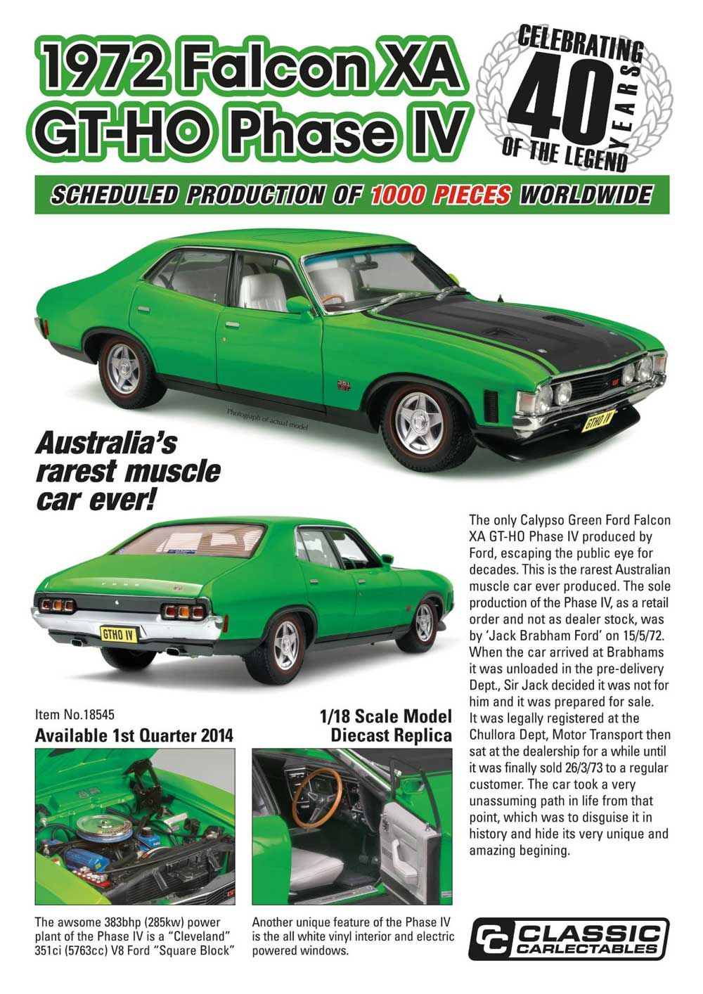 Classic Carlectables Promotional Poster For  Model Of The Sole Production Ford Falcon Xa Gtho Phase Iv