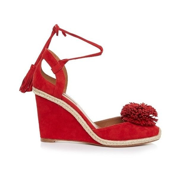Aquazzura Sunshine suede fringed wedge sandals (30,500 INR) ❤ liked on Polyvore featuring shoes, sandals, espadrille wedge sandals, wedges shoes, wedge heel sandals, espadrille sandals and pom pom sandals