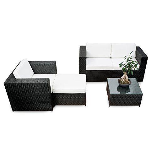 AuBergewohnlich Polyrattan Lounge Möbel Set Balkon   Schwarz   Sitzgruppe Garnitur  Gartenmöbel Balkon Lounge