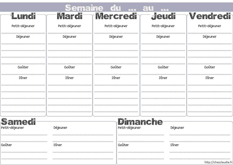 Top Modèle de menu de la semaine à imprimer sous forme de semainier  GY84