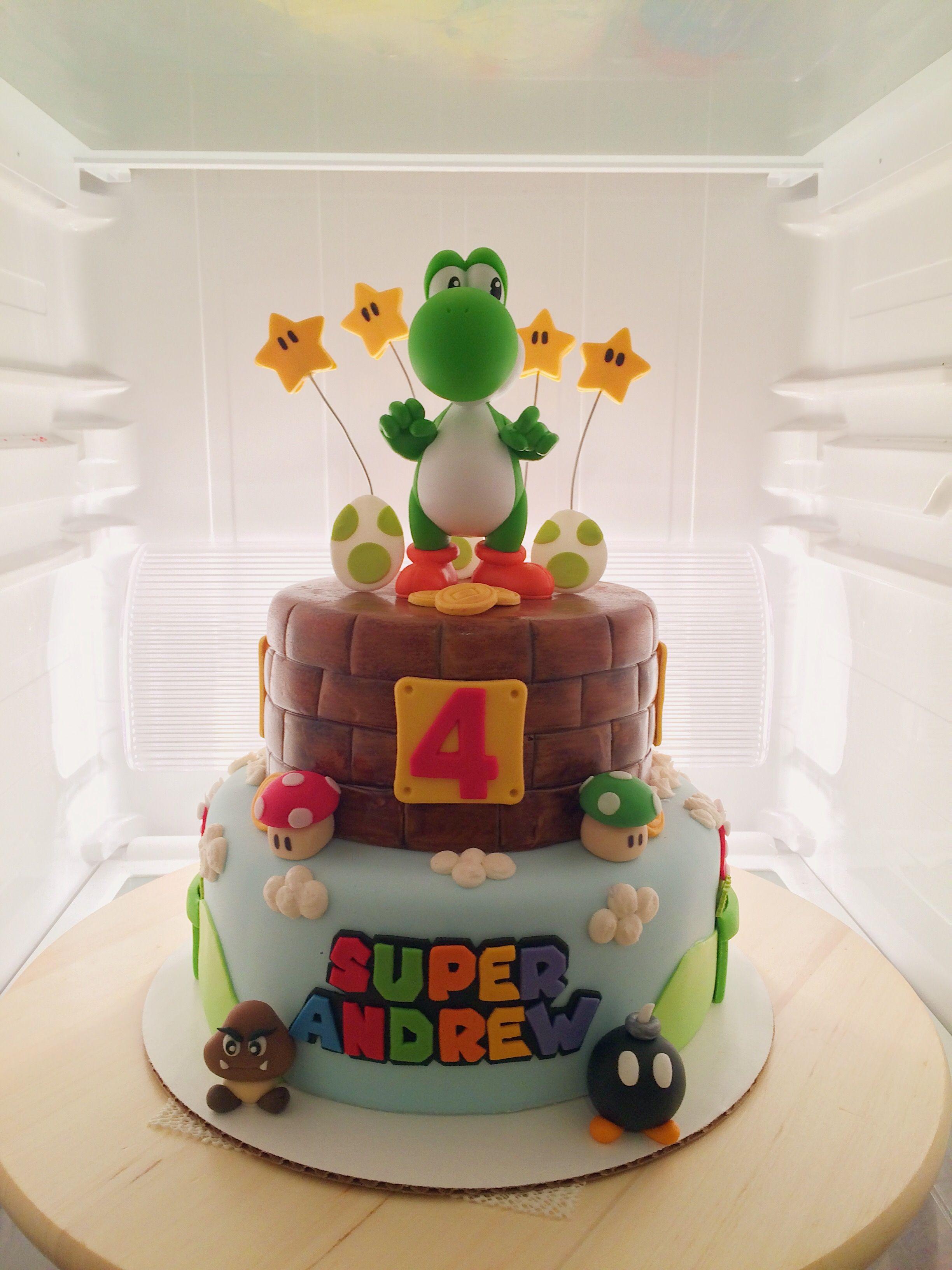 Awesome Yoshi Super Mario Theme Birthday Cake Yoshi Toy Purchased From Funny Birthday Cards Online Necthendildamsfinfo