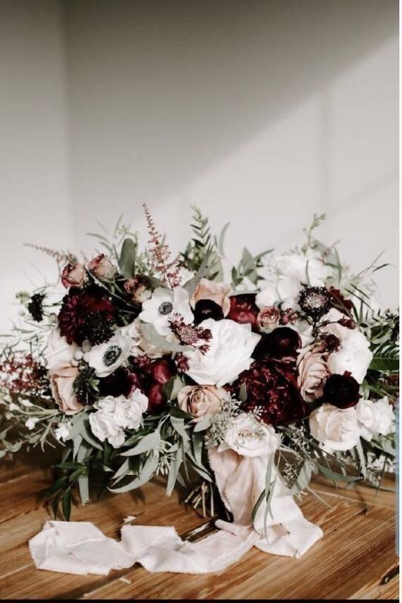 Burgundy bridal bouquet, white bridal bouquet, boho bouquet, greenery bouquet, wine bouquet, wedding