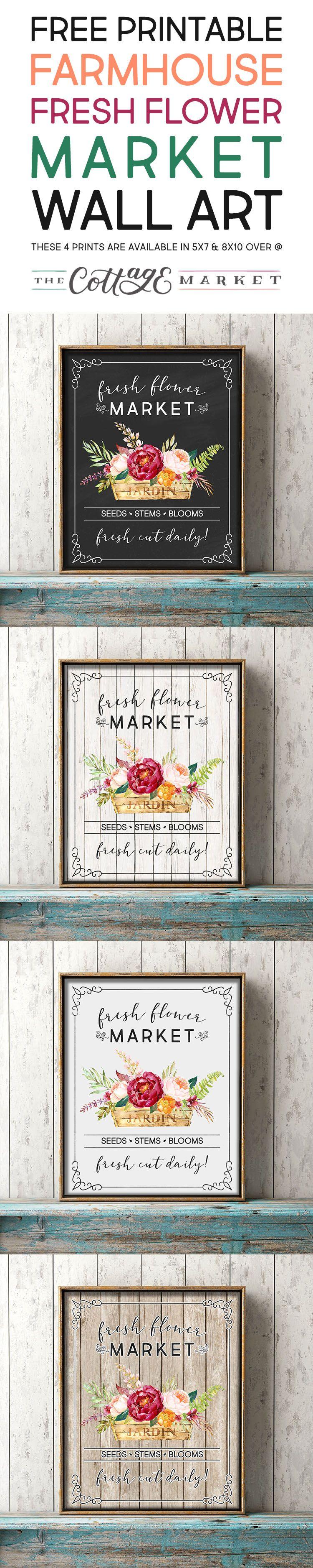 Free Printable Farmhouse Fresh Flower Market Wall Art /// 4