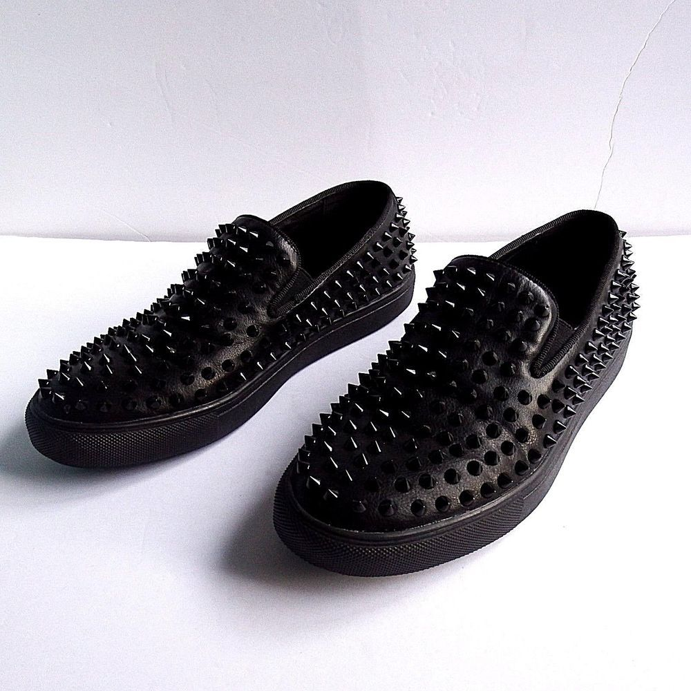 Steve Madden Mens Black Spiked Hyde Goth Slip On Sneakers 9 Stevemaddenmen Hyde Loafers Men Dress Shoes Men Shoe Boots [ 1000 x 1000 Pixel ]