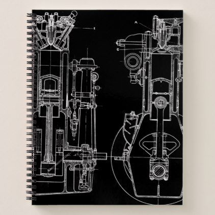 Mechanical drawing vintage blueprint white custom notebook custom mechanical drawing vintage blueprint white custom notebook vintage gifts retro ideas cyo malvernweather