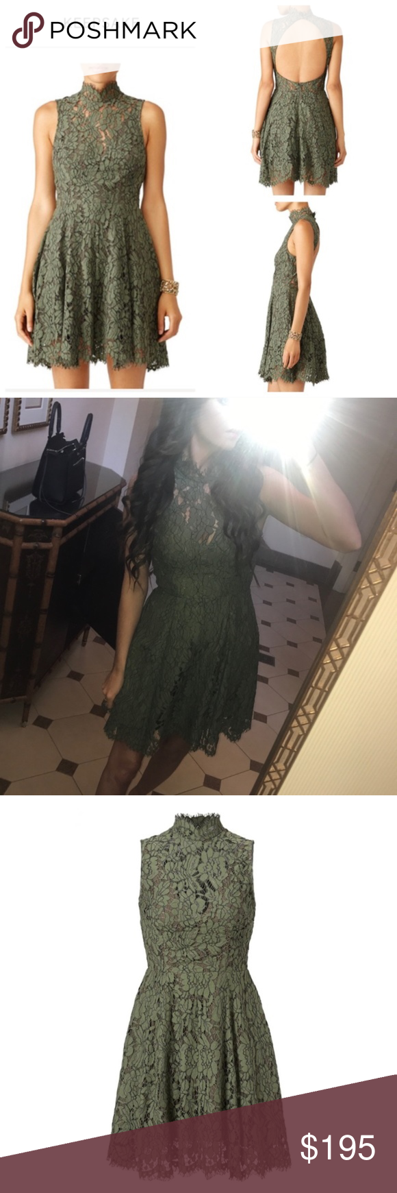 Nwt keepsake the label olive green lace dress nwt in my