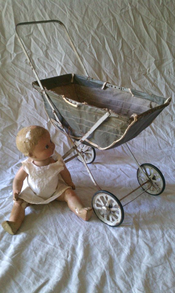 Vintage Composit Doll and Baby Stroller