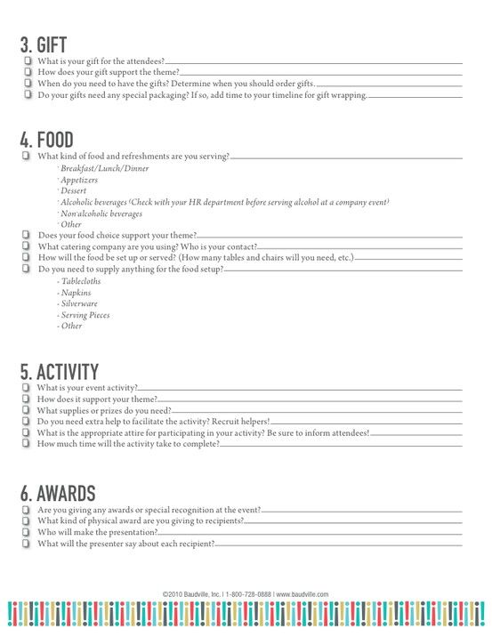 Employee Event Planning Checklist  Page  Of   Event Planner