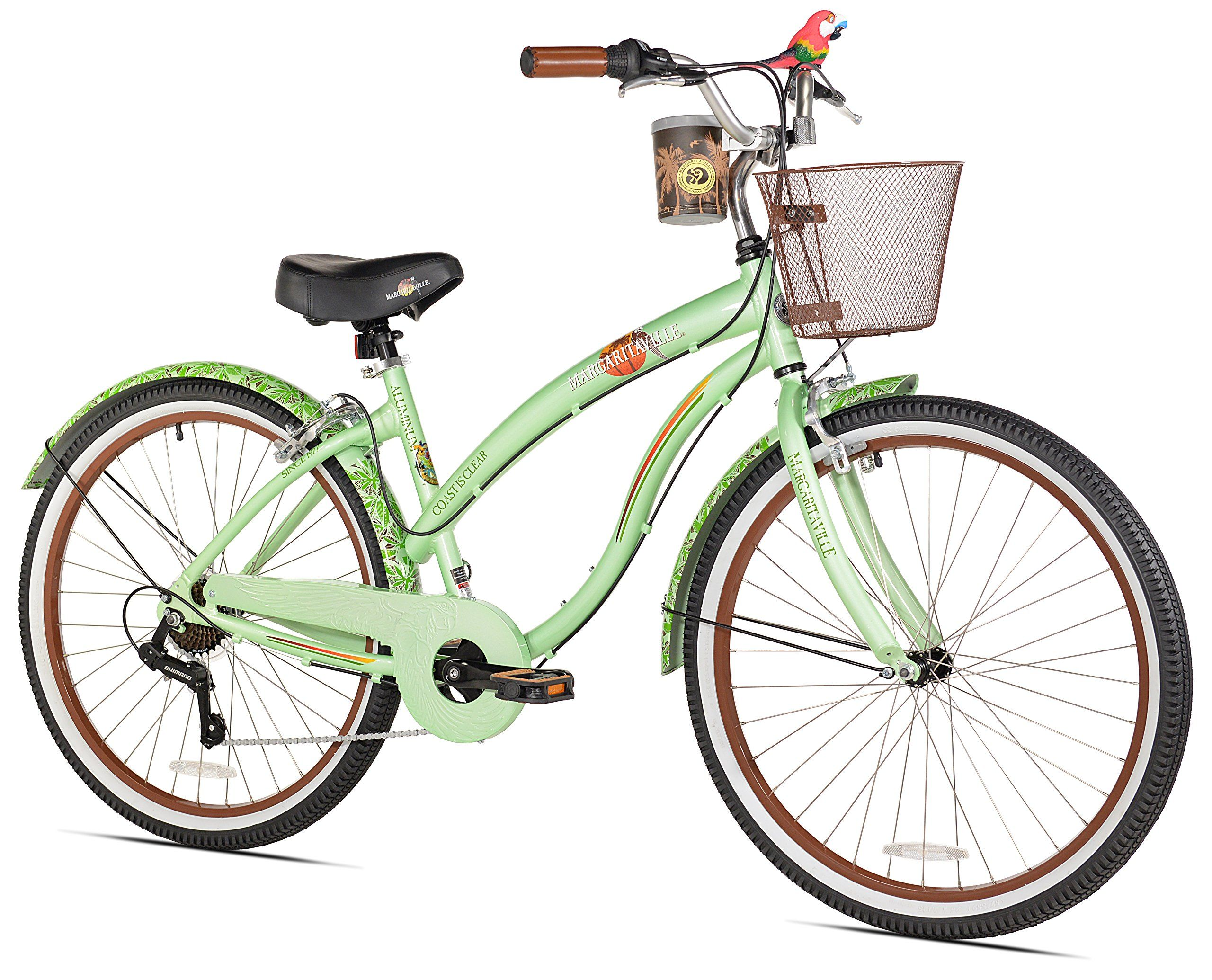 Margaritaville coast is clear women s beach cruiser bike aluminum frame shimano 7 speed drive train with revo twist shifters alloy front and rear side