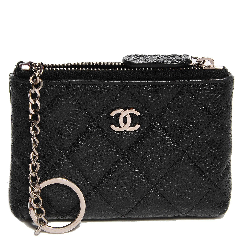 Chanel caviar key holder case black chanel caviar