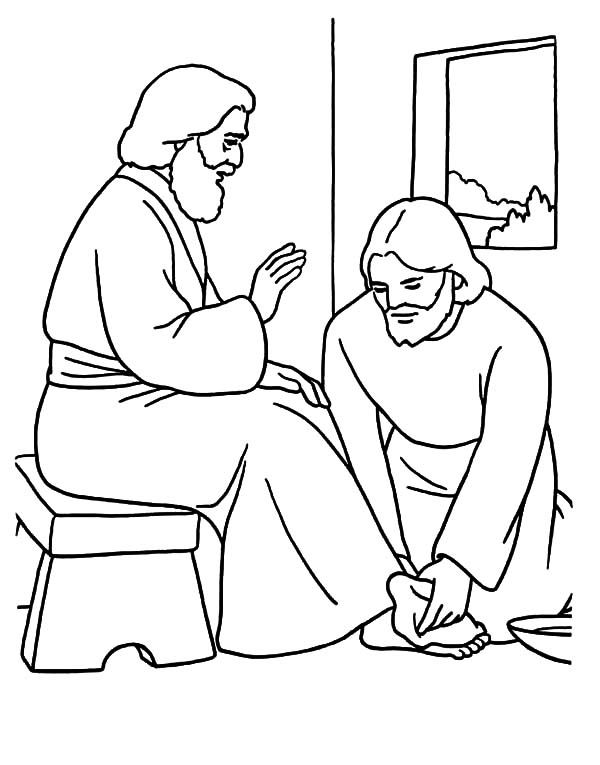Washing Feet Free Coloring Page