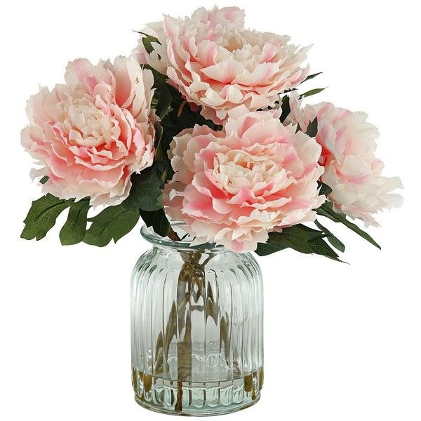 Peonies In Ridged Glass Vase Found On Polyvore Top Home Products
