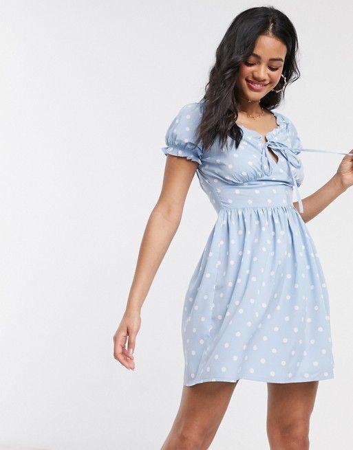 Influence - Gepunktetes Milkmaid-Kleid in Blau | ASOS in ...