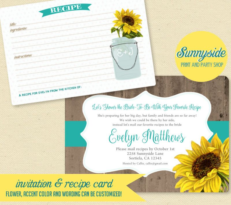 LONG DISTANCE Recipe Bridal Shower Invitation & Recipe Card ...