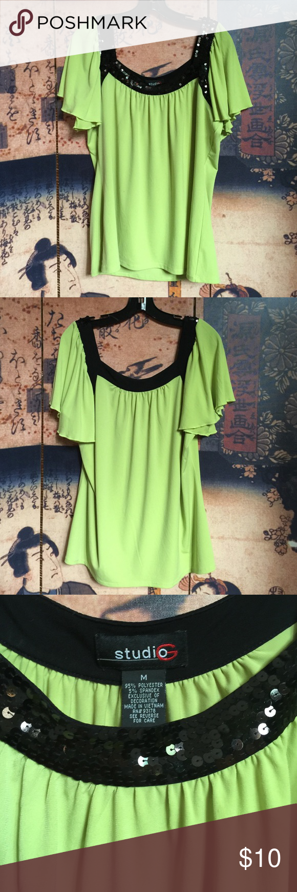 Studio G lime green top with black sequined trim Studio G polyester lime green top with black sequined trim in front. Ruffled capped sleeves. Hangs to top of hip. Studio Tops Blouses