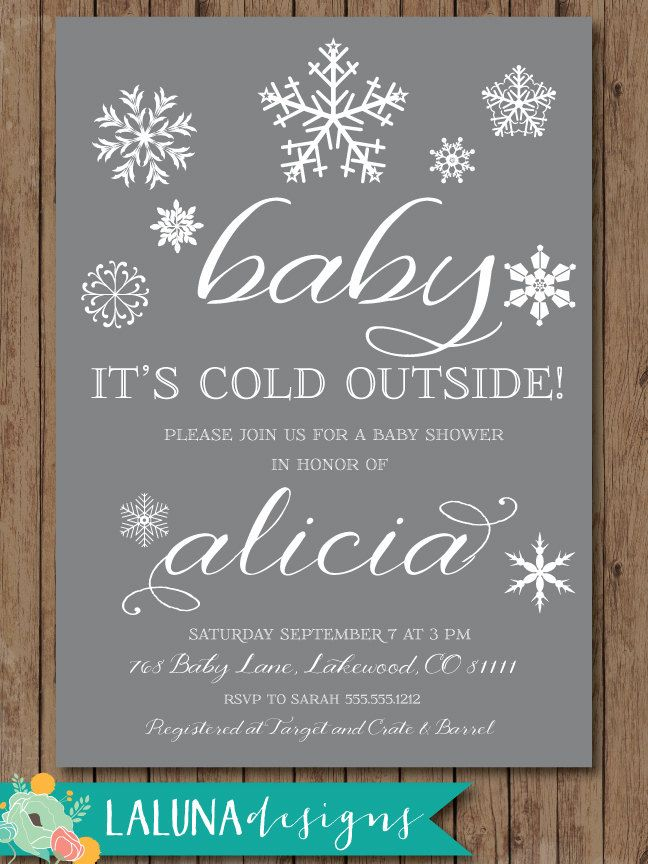 Winter Baby Shower Invitation, Baby it\'s cold outside, Snowflake ...