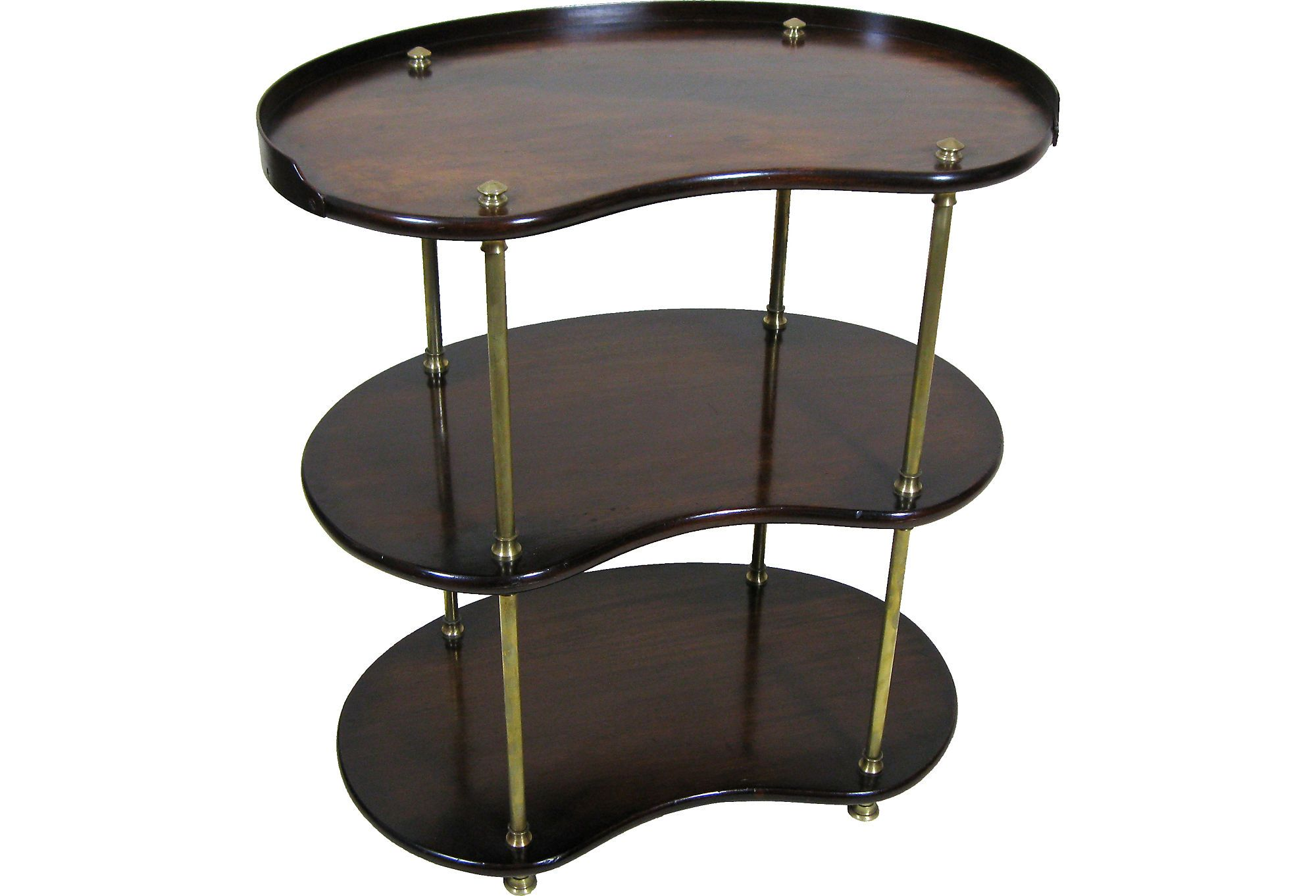 Regency Mahogany 3 Tier Serving Table with brass uprights and